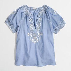 J Crew Chambray Embroidery Short Sleeve Shirt